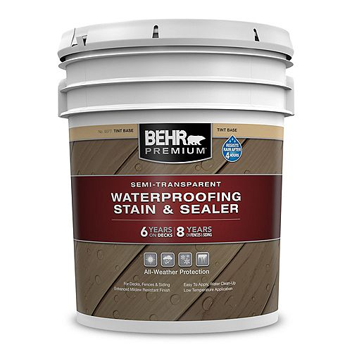 Behr Premium Semi-Transparent Waterproofing Stain & Sealer - Tint Base, 18.9L