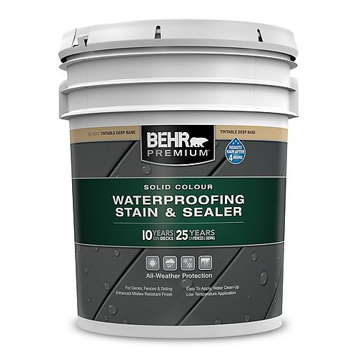 Behr Premium Solid Colour Waterproofing Stain & Sealer - Deep Base No. 5013, 18.9L
