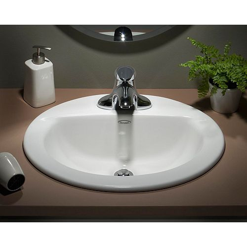 Colony 4-inch Oval Countertop Sink Basin in White