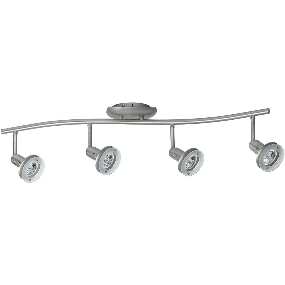 Hampton Bay 4 Light Floating Glass Ring Wave Bar Fixture Brushed Steel Finish