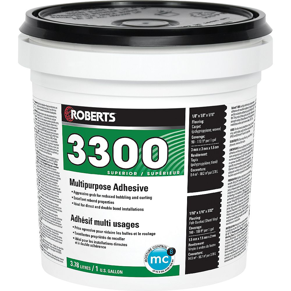 Roberts 3300 Max, 3.78L Performance+ Carpet and Sheet Vinyl Flooring Adhesive and Glue