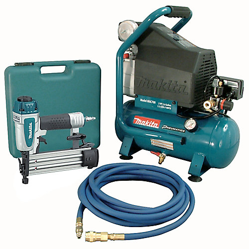 2 HP Air Compressor with 18-gauge Brad Nailer and 25 ft. Hose