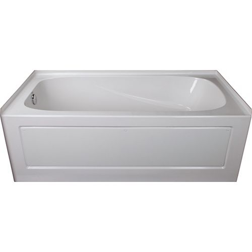 Sydney 5-ft.. Rectangular Left-Hand Alcove Acrylic Non-Whirpool Bathtub in White
