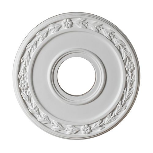 12-inch Medallion Fixture Accent with Floral Pattern in Matte White Finish