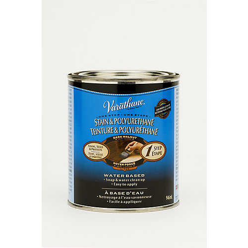 One Step Water-Based Stain & Polyurethane In Dark Walnut, 946 mL