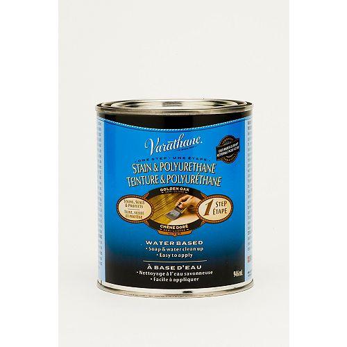 Teinture et polyuréthane à base d'eau en une étape en chêne doré, 946 mL