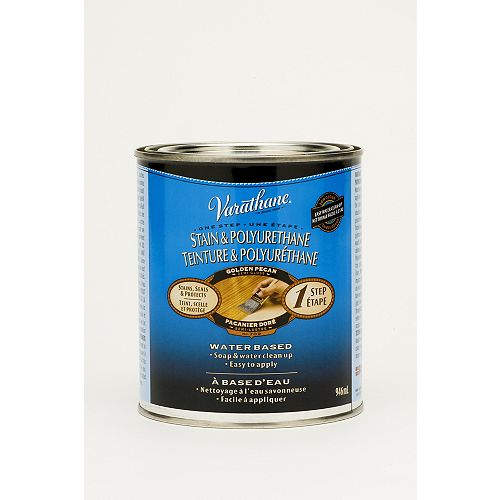Varathane Stain & Poly One Step Water-Based Stain & Polyurethane in Golden Pecan, 946 mL