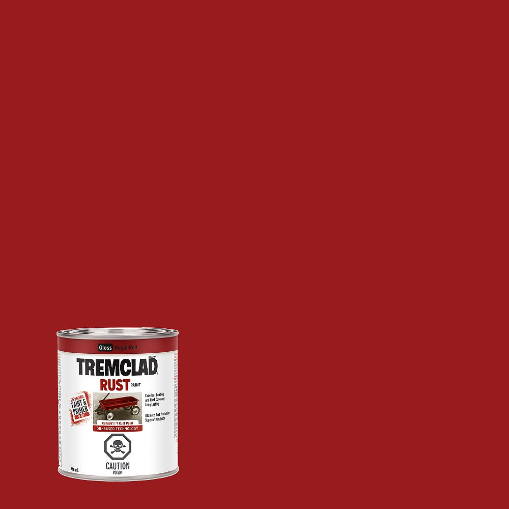 TREMCLAD Oil-Based Rust Paint In Gloss Regal Red, 946 mL
