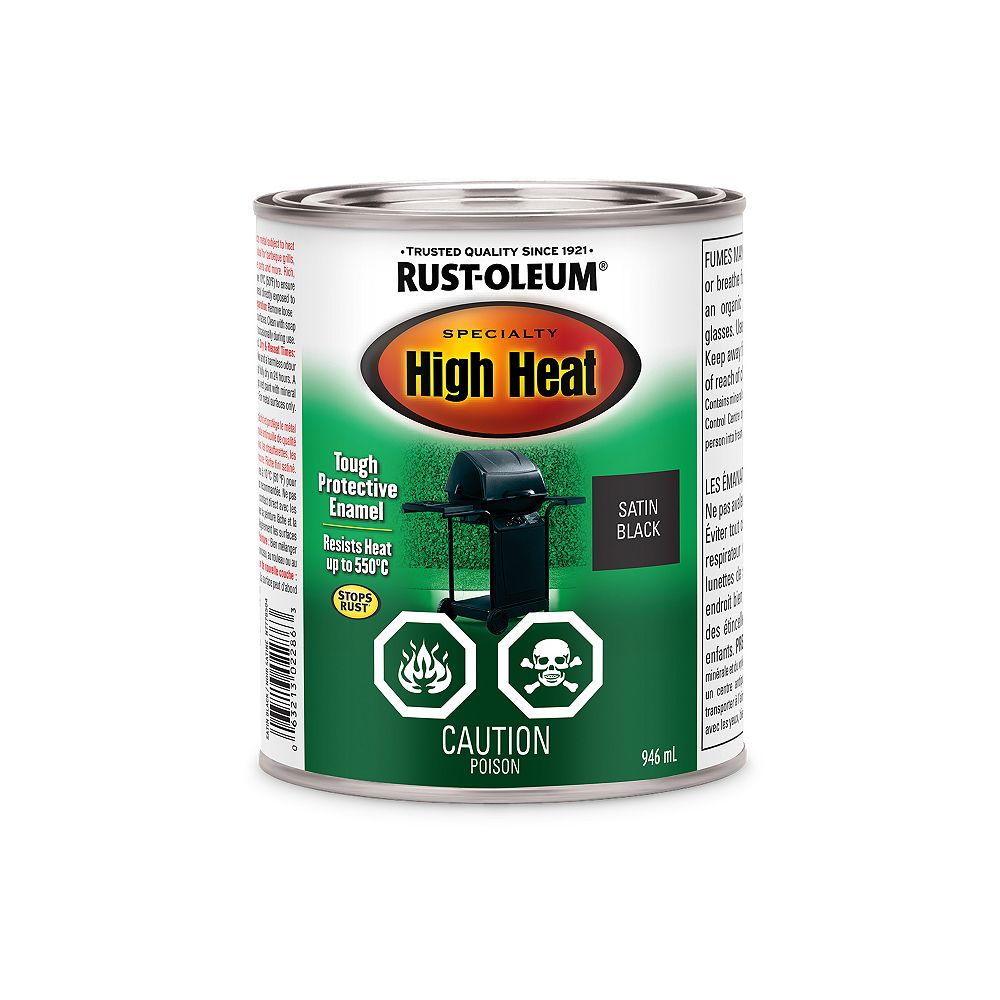 Rust-Oleum Specialty Spécialité Émail Haute Chaleur En Noir Satiné - 946 mL