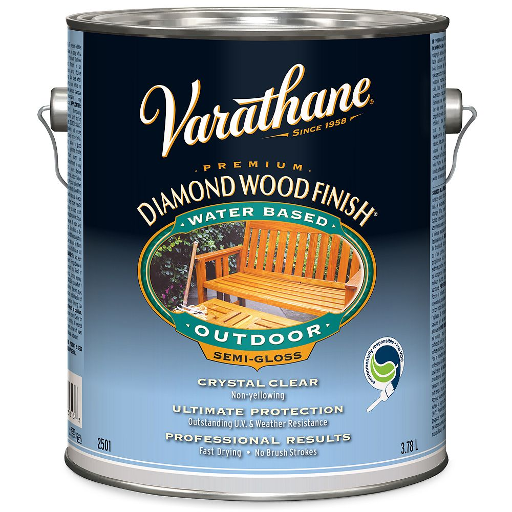 Varathane Premium Diamond Wood Finish For Outdoor, Water-Based In Semi-Gloss Clear, 3.78 L
