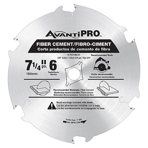 7 1/4-inch x 6 Tooth Carbide Tipped Circular Saw Blade for Fibre Cement Cutting