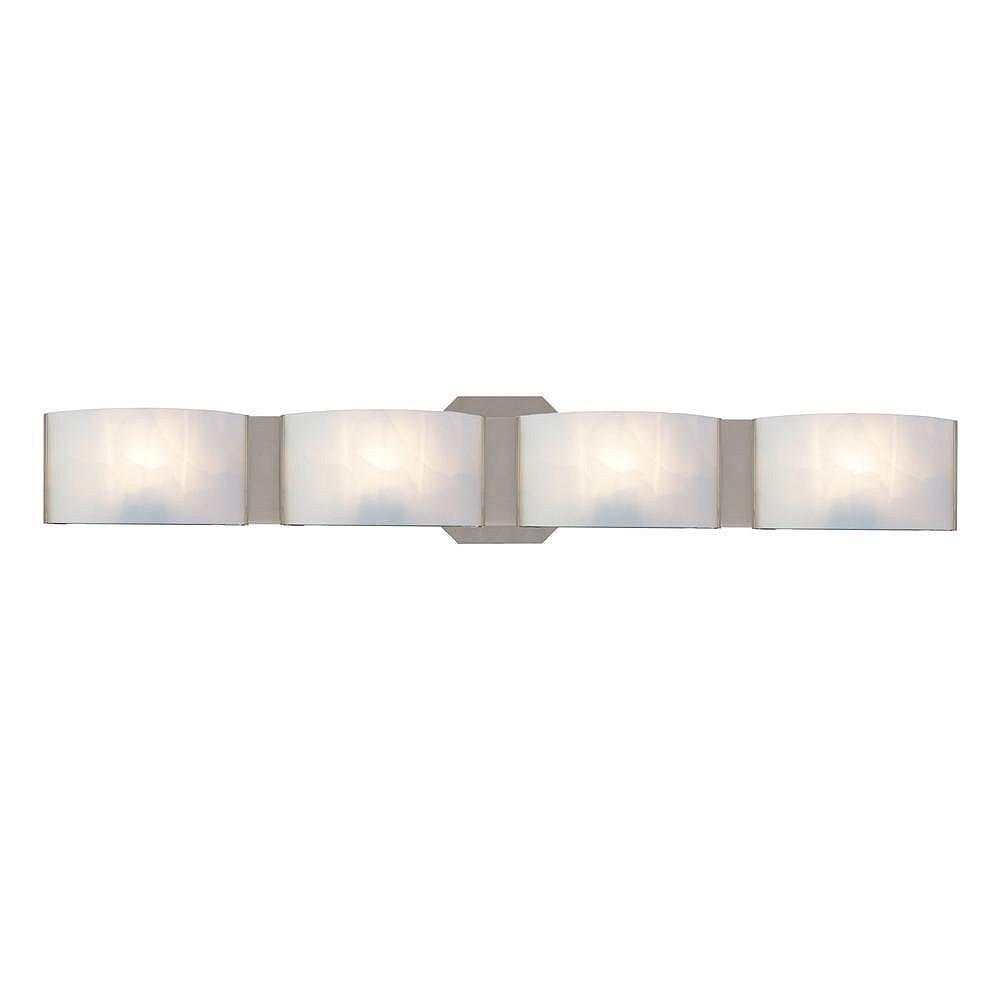Hampton Bay Applique de salle de bains Dakota, nickel satiné, 4 ampoules, diffuseurs en verre givré