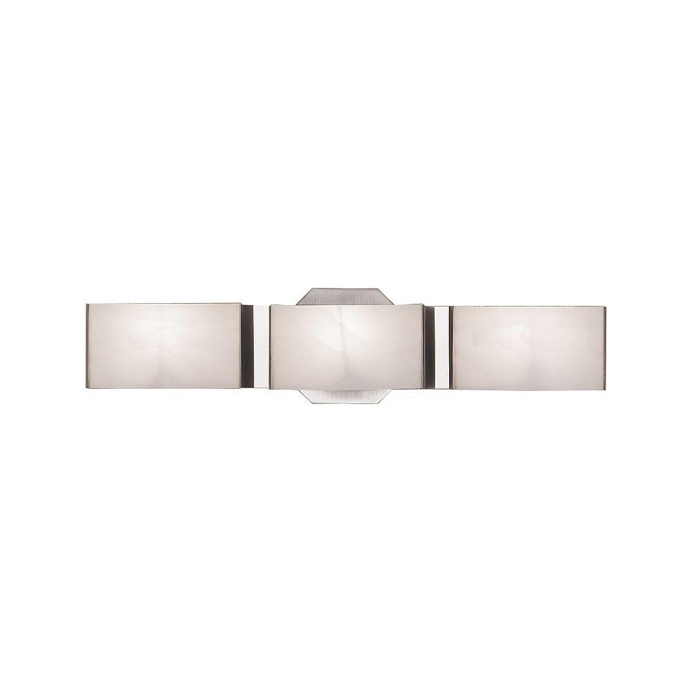Hampton Bay Applique de salle de bains Dakota, nickel brossé, 3ampoules, diffuseurs en verre givré