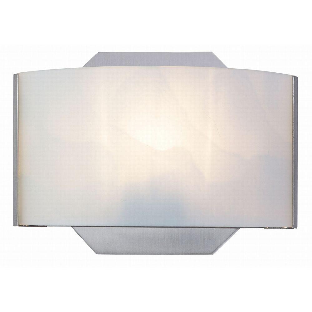 Hampton Bay Dakota 1-Light Satin Nickel Sconce with Frosted Glass Shade