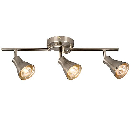 3-Light Ceiling Track Light in Brushed Nickel
