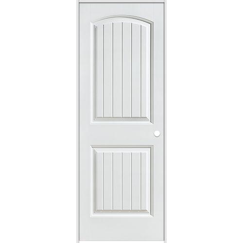 Porte intérieure prémontée 6 panneaux planches lisses 30 pouces x 80 pouces ouverture gauche