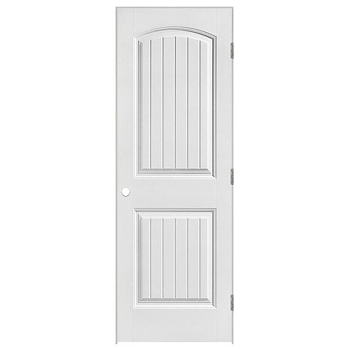 Masonite 28-inch x 80-inch Lefthand Primed 2-Panel Plank Smooth Prehung Interior Door
