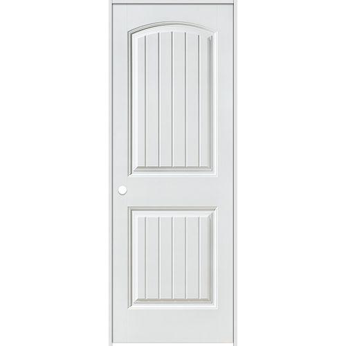 Porte intérieure prémontée 6 panneaux planches lisses 28 pouces x 80 pouces ouverture droite