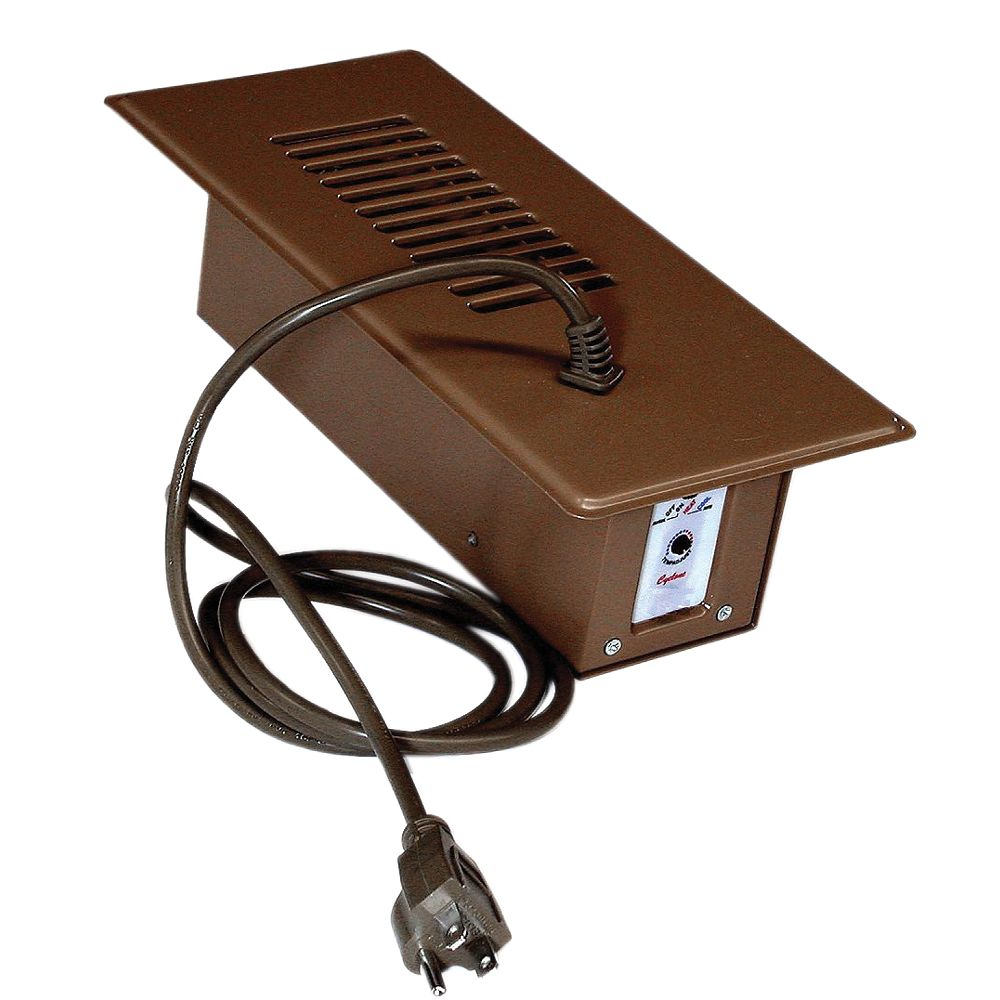 Cyclone Register Booster Fan Plus in Brown with Built-In Thermostat