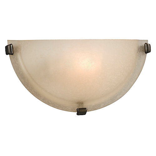 1-Light Bronze Sconce with Frosted Glass Shade