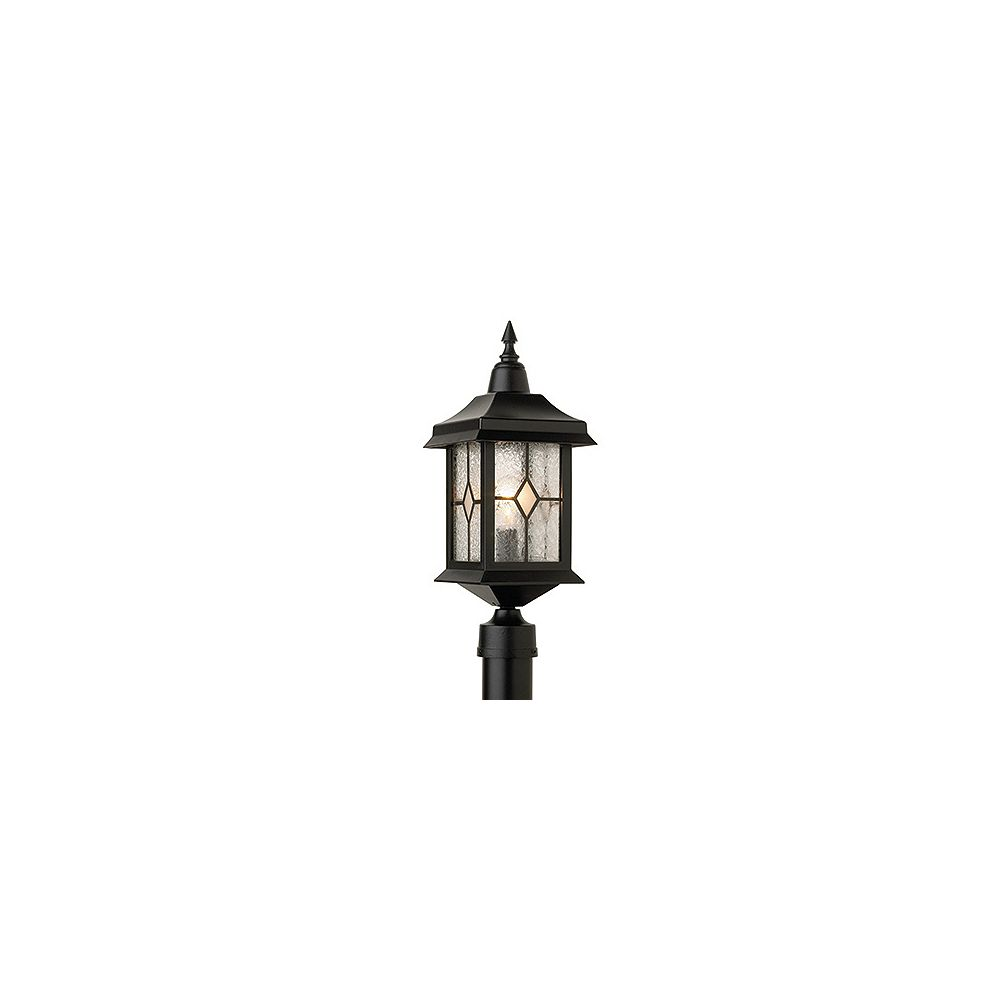 Snoc Victoria, luminaire sur poteau, panneaux de verre Tiffany, noir (potau non-inclus)