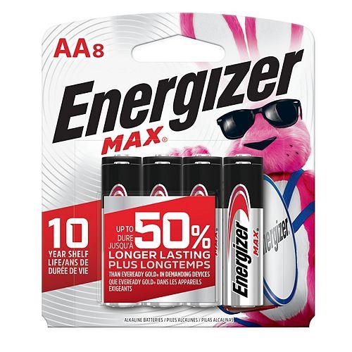 Piles alcalines AA MAX, emballage de 8