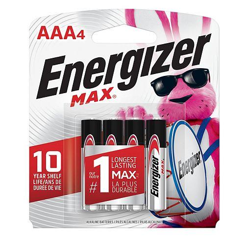 Piles alcalines AAA MAX, emballage de 4