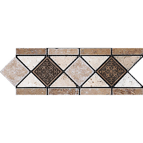 4-inch x 12-inch Noce with Fiore Metal Decorative Border Tile
