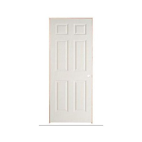 30-inch x 78-inch Lefthand 6-Panel Textured Prehung Interior Door
