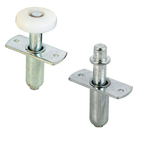 Roulette guide et pivot supérieur pour porte repliable