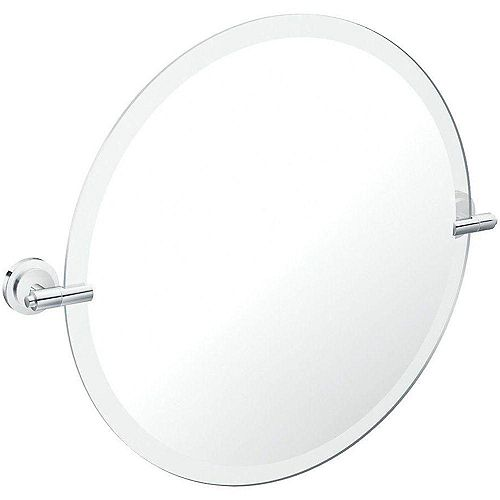 Iso Chrome Mirror with Pivoting Decorative Hardware