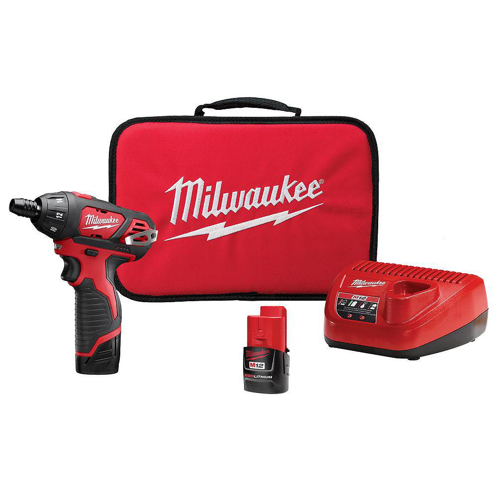 Milwaukee Tool M12 12V Lithium-Ion Cordless 1/4-inch Hex Screwdriver Kit With 1.5Ah Batteries, Charger & Tool Bag