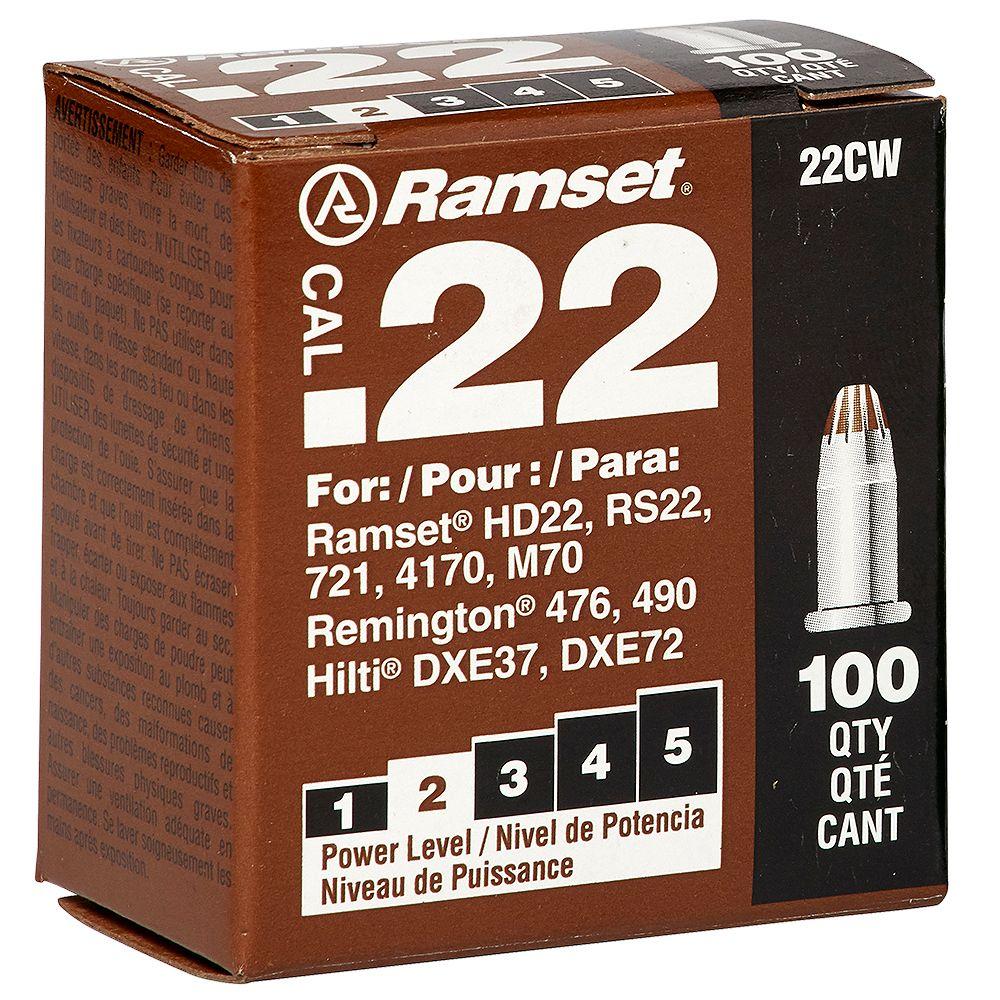Ramset 22 Cal. Single Shot Brown Load (100-Pack)
