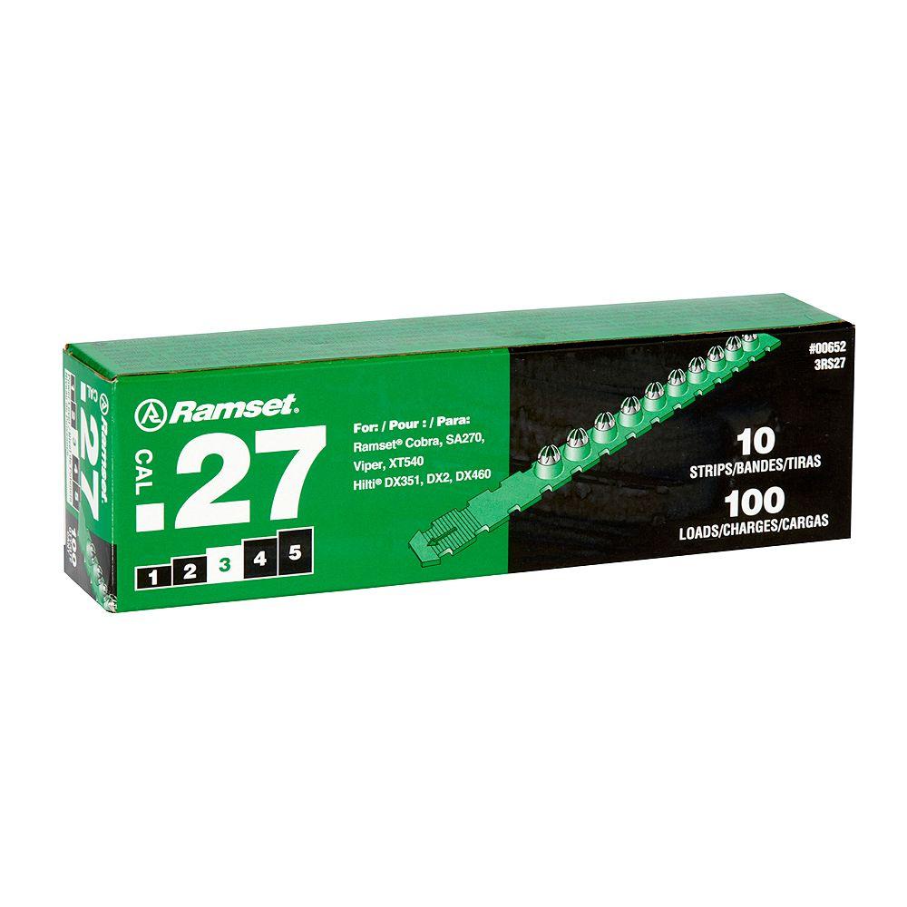 Ramset .27 Caliber Strip Shot Green Load (100-Pack)