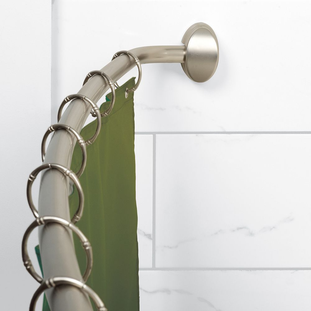 Zenith Products Curved Hotel Shower Rod - Brushed Nickel