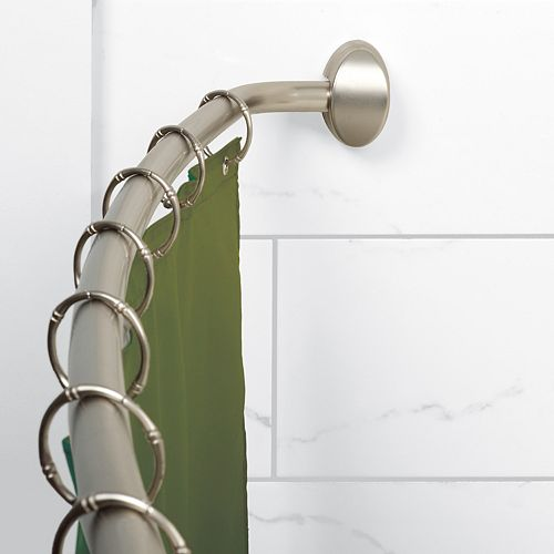 Curved Hotel Shower Rod - Brushed Nickel