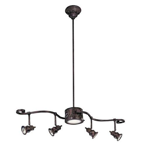 Rail d'éclairage à 5 lampes Kara, fini bronze
