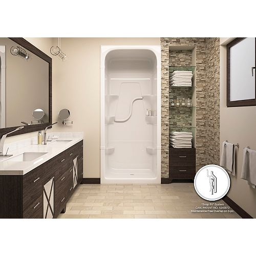 Madison 34.25-Inch D x 38-inch W x 84.5-inch H Square 3-Piece Shower Stall in White