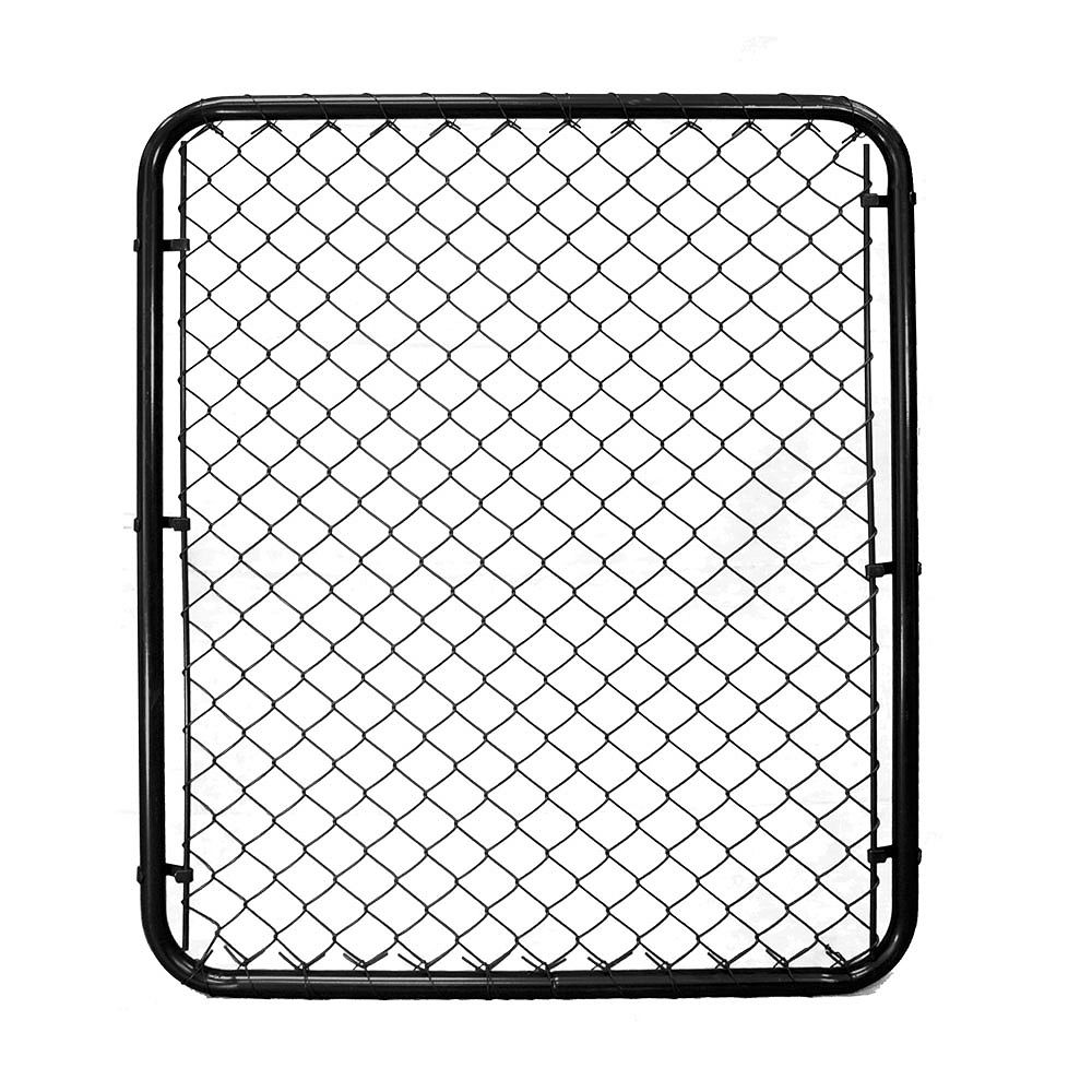 Peak Products 3 1/3 ft. W x 4 ft. H x 1 3/8-inch D Steel Chain Link Fence Gate in Black with 2-inch Mesh Opening