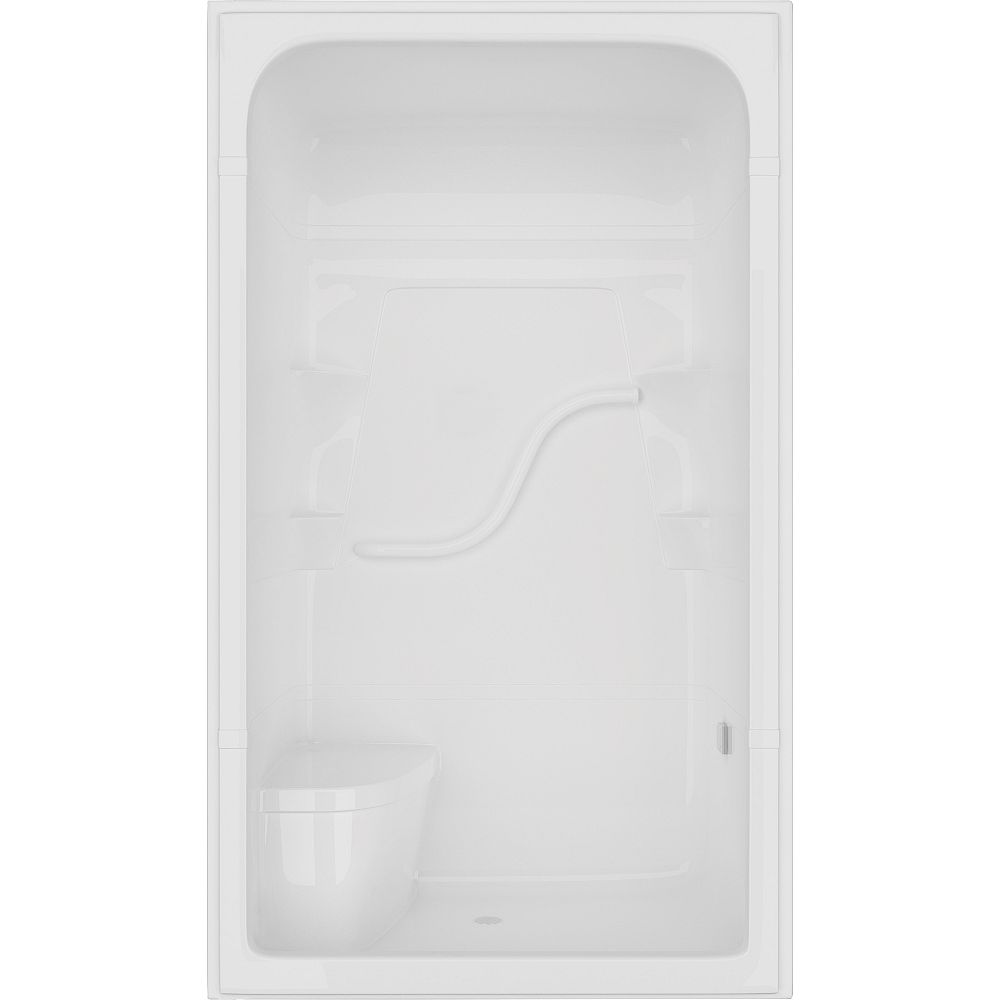 Mirolin Madison 34.5-inch D x 50-inch W x 84.5-inch H 4-ft. 3-Piece Shower Stall with Seat in White