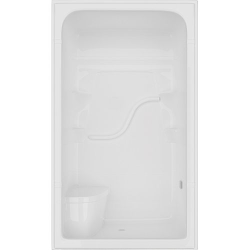 Madison 34.5-inch D x 50-inch W x 84.5-inch H 4-ft. 3-Piece Shower Stall with Seat in White