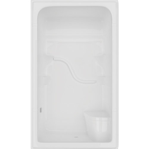 Madison 34.5-inch D x 50-inch W x 84.5-inch H Rectangle 3-Piece Shower Stall with Seat in White