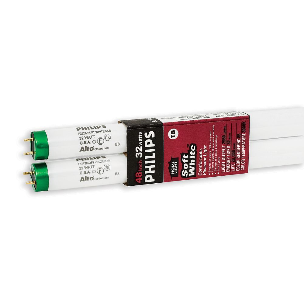 Philips 32W T8 48-inch Soft White (3000K)Fluorescent Light Bulb (2-Pack)