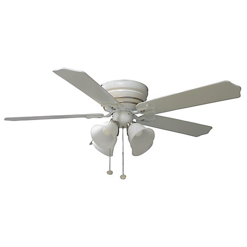 Carriage House White Ceiling Fan With Nickel Accent - 44 Inch