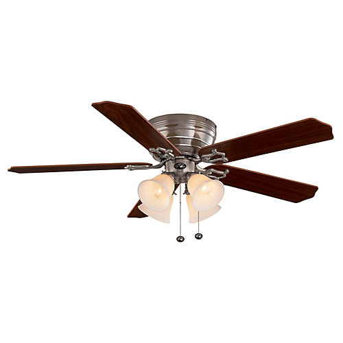 Carriage House 52-inch LED Indoor Brushed Nickel Ceiling Fan with Light Kit