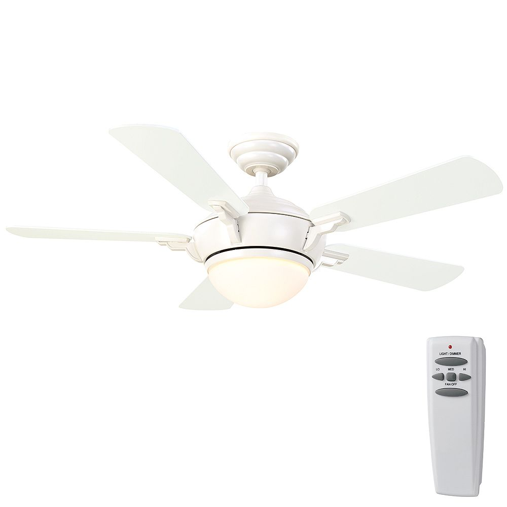 Hampton Bay Midili 44-inch 5-Blade White Indoor Ceiling Fan with Integrated LED Light and Remote Control