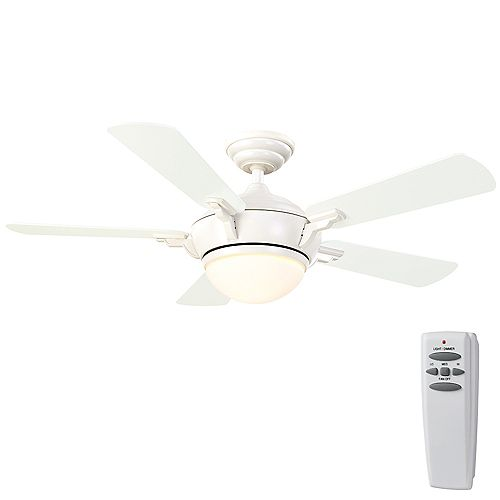 Midili 44-inch 5-Blade White Indoor Ceiling Fan with Integrated LED Light and Remote Control