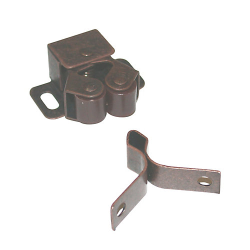 Double Roller Catch with Diamond Strike - Antique Copper