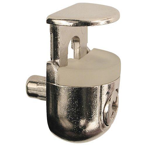 Sachet de 4 - Support à tablette de verre réglable Peki de 3/16 po (5 mm) Nickel