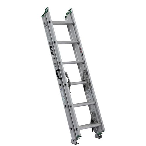 Featherlite aluminum compact extension ladder 16 Feet grade II